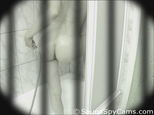 Back view of a voyeur shower girl